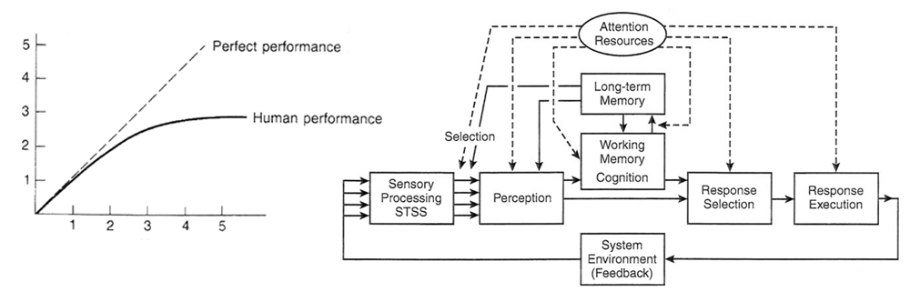 Human factors and engineering psychology - human performance and information processing diagram.
